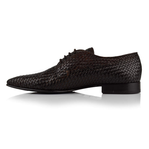 LM147 - Language Men's Woven Brown Derby Shoes