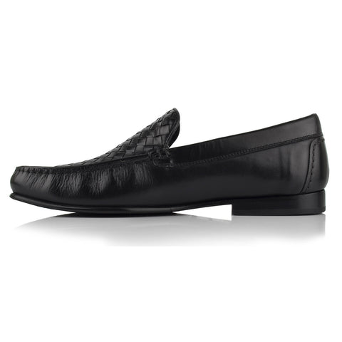 LM173 - Language Tisser Men's Dress Black Moccasins