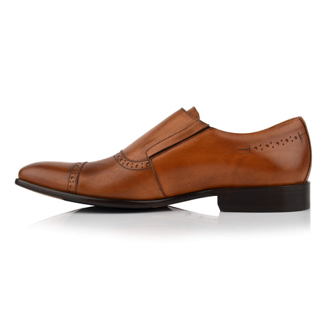 LM410 - Language Paco Men's Formal Tan Monk Shoes