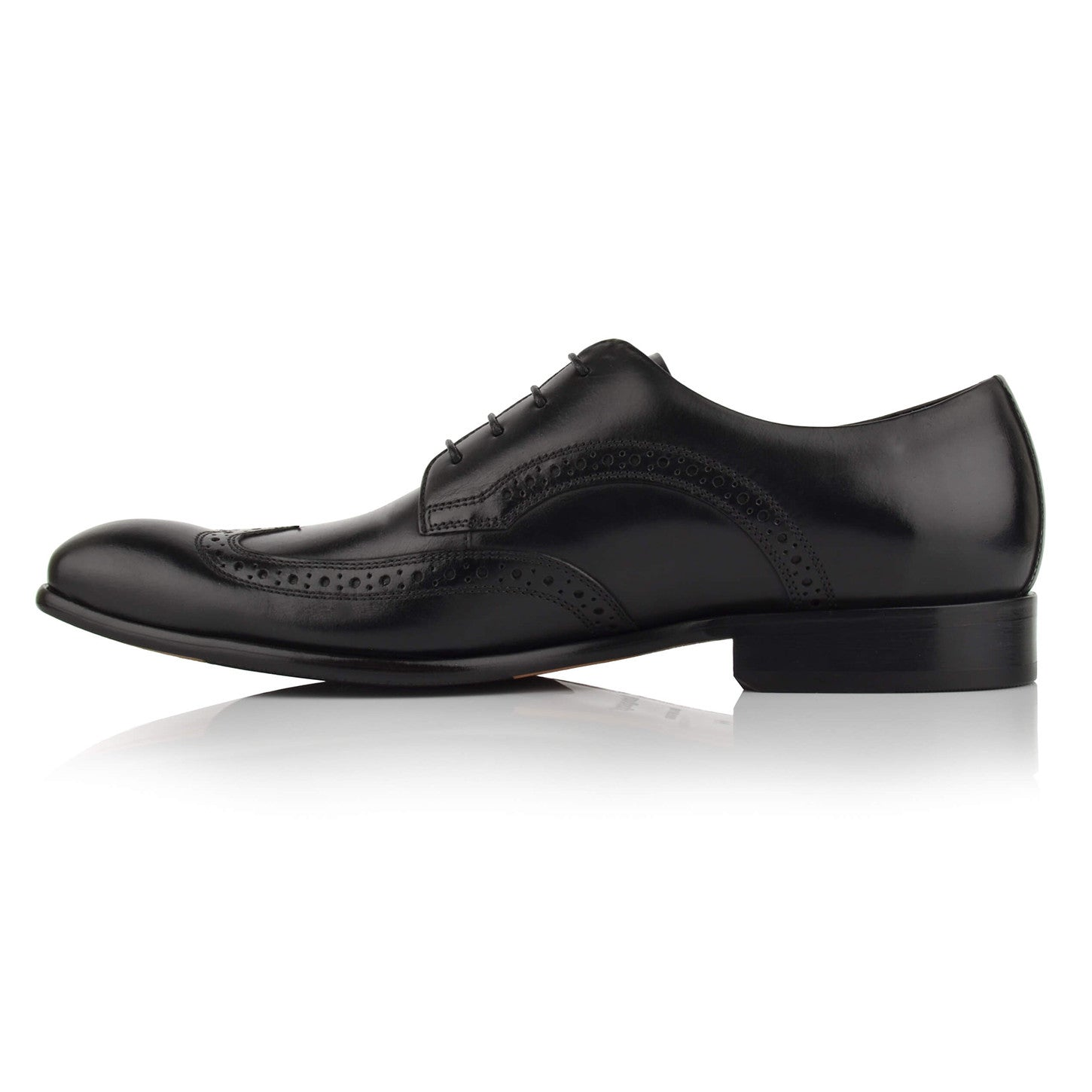 LM411 - Language Cosmo Men's Formal Black Derby Shoes
