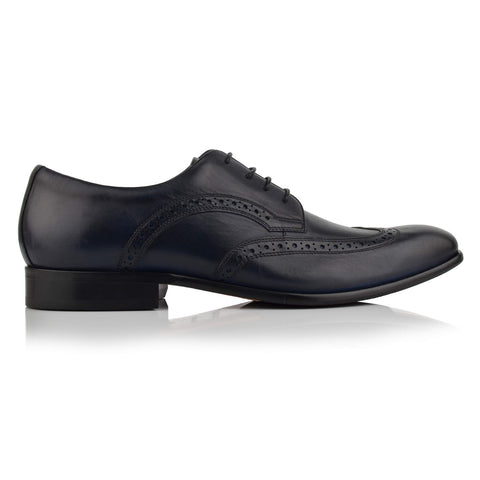 LM411 - Language Cosmo Men's Formal Navy Derby Shoes