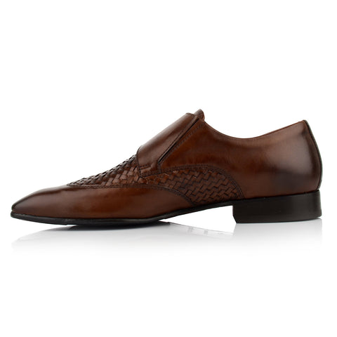 LM512 - Language Texo Men's Dress Brown Monk Shoes
