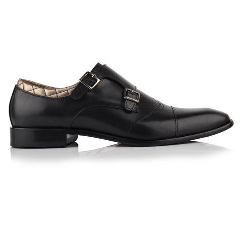 LM531 - Language Musca Men's Dress Black Monk Shoes