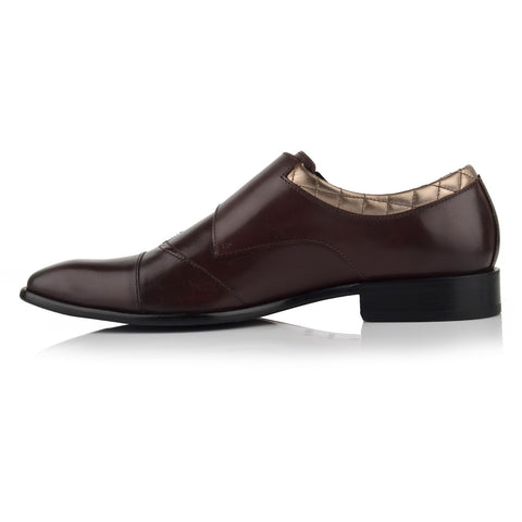 LM531 - Language Musca Men's Dress Burgundy Monk Shoes
