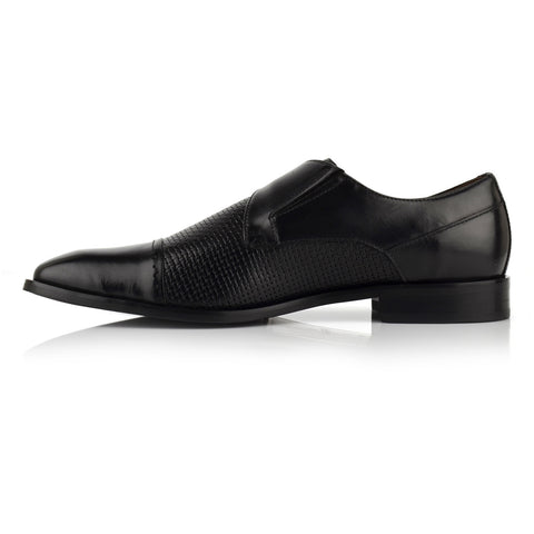 LM540 - Language Sigillo Men's Dress Black Monk Shoes