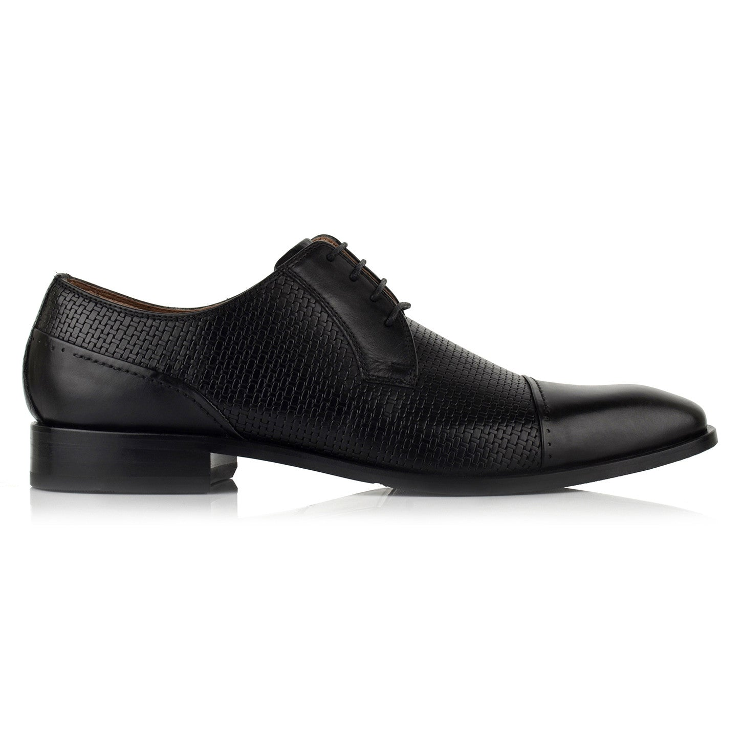 LM541 - Language Marchio Men's Dress Black Derby Shoes