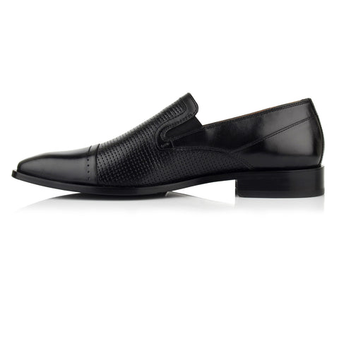 LM543 - Language Timbro Men's Dress Black Loafers