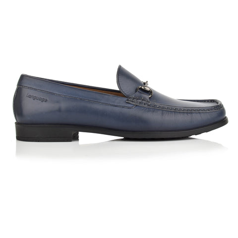 LM601 - Language Swank Men's Formal Navy Moccasins