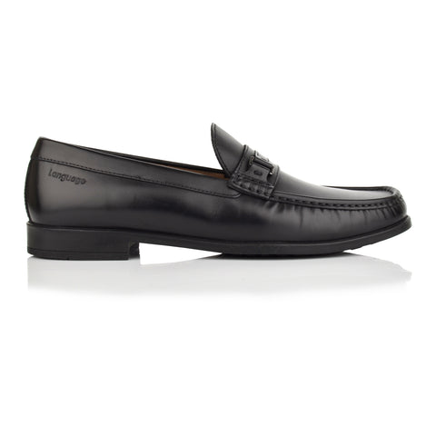 LM602 - Language Welsh Men's Formal Black Moccasins