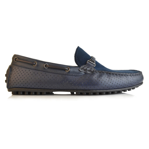 LM813 - Language Shaid Men's Navy Casual Moccasin