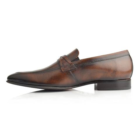 LM850 - Language Thomas Men's Brown  Dress Loafers