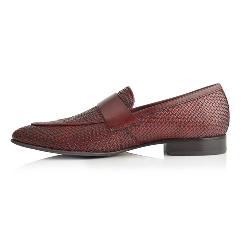 LM855 - Language Muneh Men's Burgundy Dress Loafers
