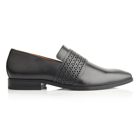 LM865 - Language Hiton Men's Black  Dress Loafers