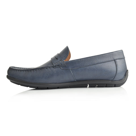 LM881 - Language Justn Men's Navy  Dress Moccasin