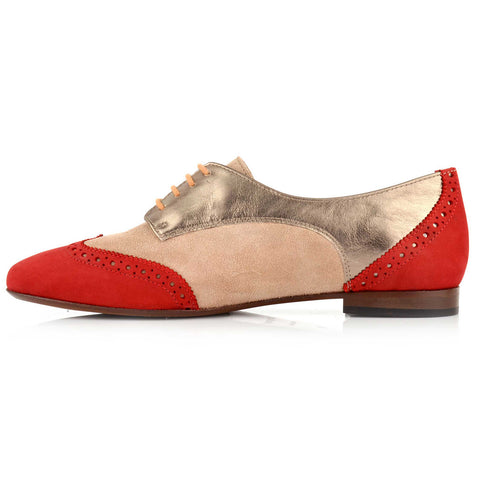 LW026 - Language Bari Women's Casual Red Derby Shoes