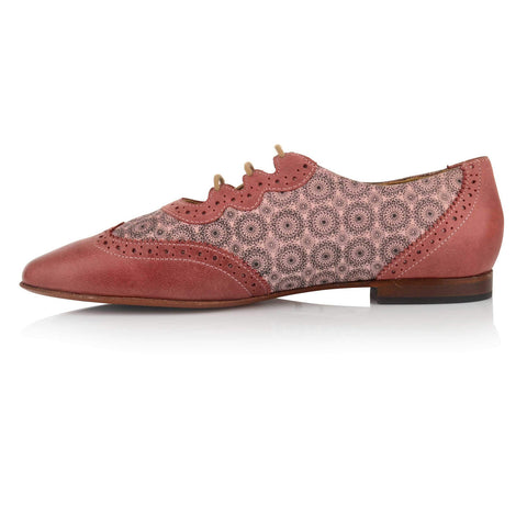 LW027 - Language Florence Women's Casual Pink Oxford Shoes