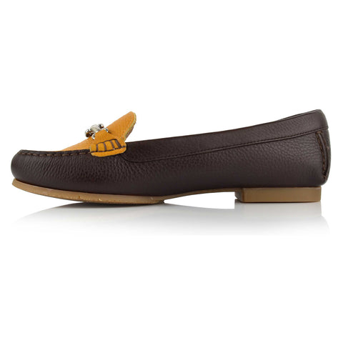LW035 - Language Trieste Women's Casual Brown Moccasins