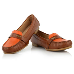 LW036 - Language Rimini Women's Casual Brown Moccasins