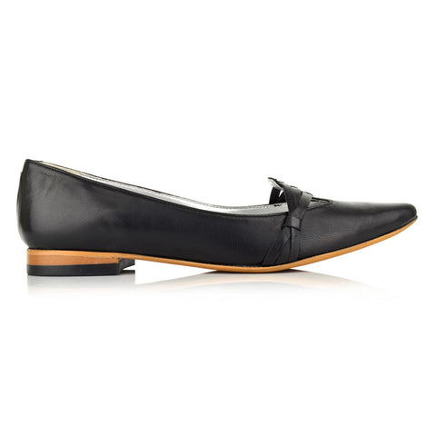 LW093 - Language York Women's Casual Black Ballerinas