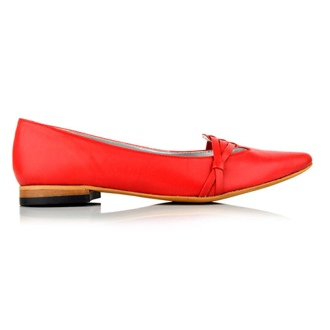 LW093 - Language York Women's Casual Red Ballerinas