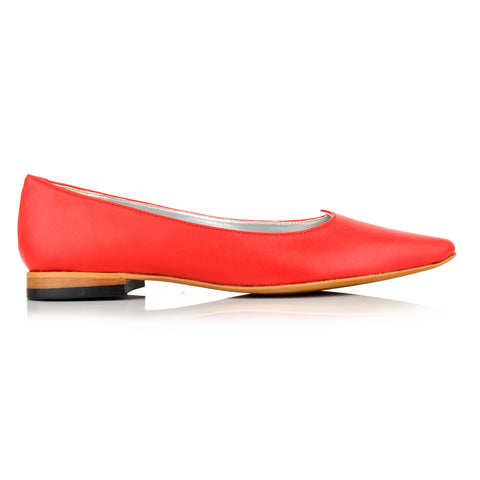 LW094 - Language Cambridge Women's Casual Red Ballerinas