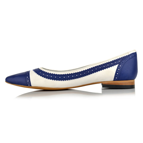 LW095 - Language Manchester Women's Casual Blue Ballerinas