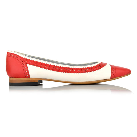 LW095 - Language Manchester Women's Casual Red Ballerinas