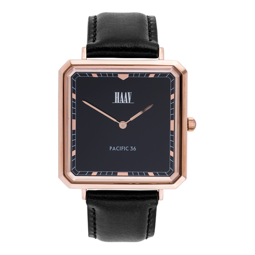 Classic square watch in a roségold and black combination
