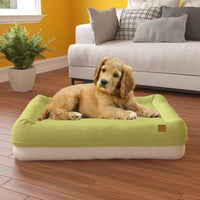 Pup Pup Kitty Plush Orthopedic Breatheable Pet Mat with NoFom cushion technology Large, Green/Beige