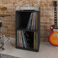 Vinyl Record Cube 2 Shelf, Black (pre-order ships 2/8)