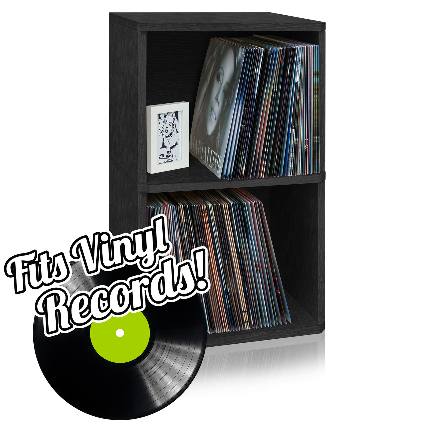 vinyl record cube 2 shelf black preorder ships 124