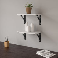 "15"" Thin Wall Shelf with Bracket, White"