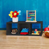 3 Cubby Stackable Storage Bench - Black