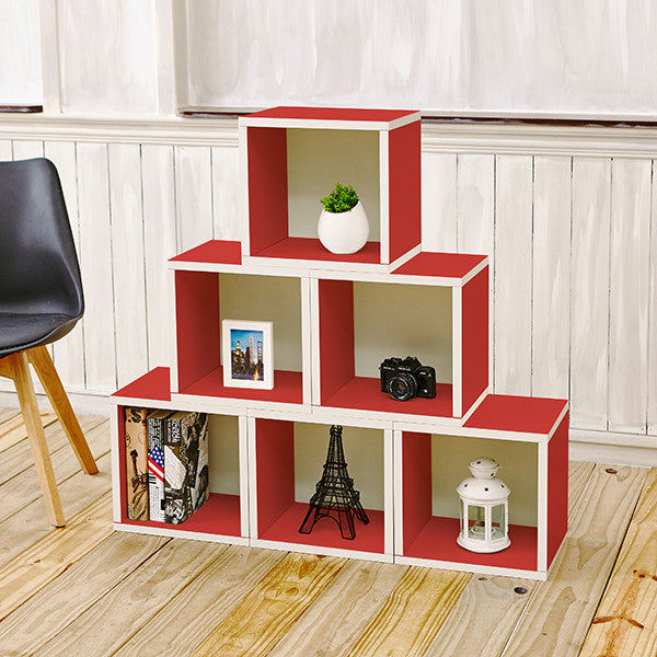Red Bookshelves, Red Storage Cubes, Red Cube Storage, Red Cubbies, Red Cubby