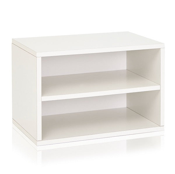 white shoe rack Stackable Shoe Cubbies   Shoe Rack Shelving | Way Basics white shoe rack