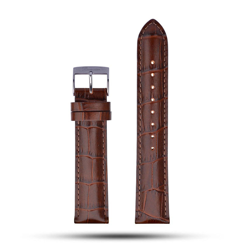 Brown Croco Leather Strap - Metal
