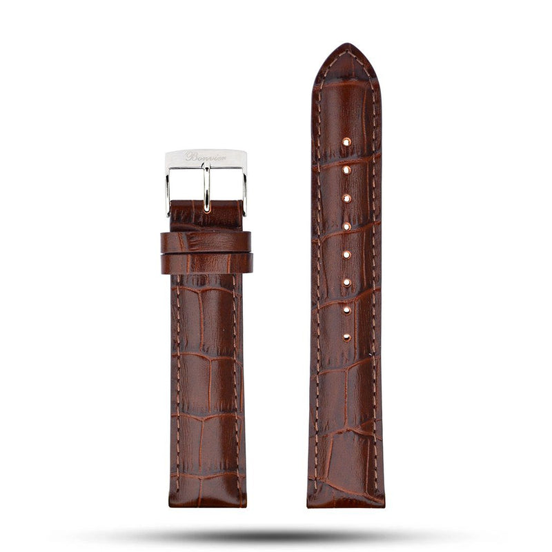 Brown Croco Leather Strap - Silver