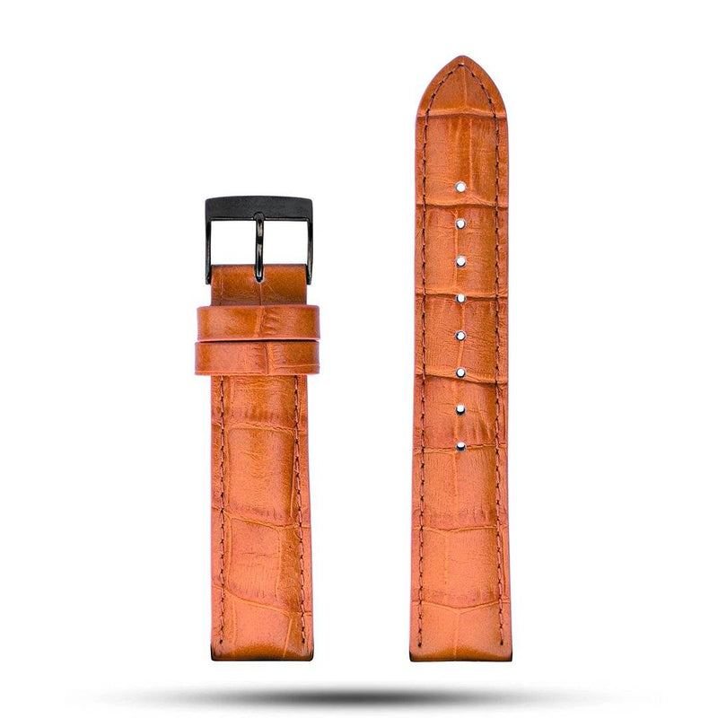 Light Brown Croco Leather Strap - Metal
