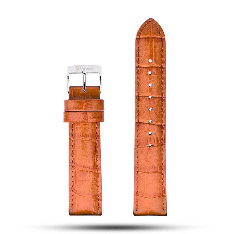 Light Brown Croco Leather Strap - Silver