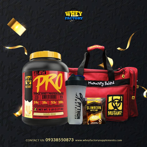 PROMO! Mutant Pro 5lbs w/ FREE Gym Bag, Python Shaker and Slimbean Coffee