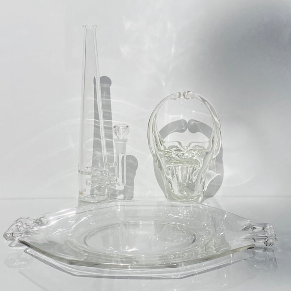 3pc Clear Rolling Tray w/ Murano Basket Ashtray + Mimi Set