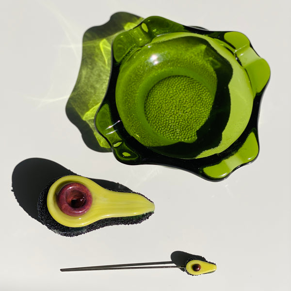 3pc Ashtray w/ Avocado Pipe + Poker Set