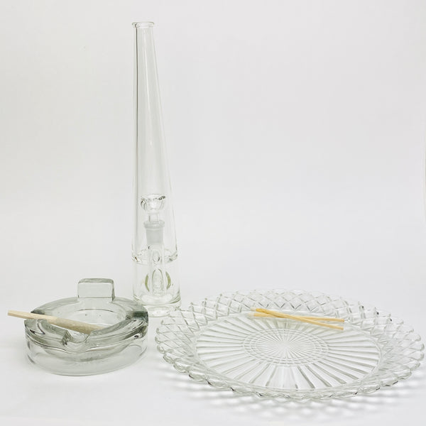 3pc Set: Heavy 1930s Ashtray, Rolling Tray, Mimi