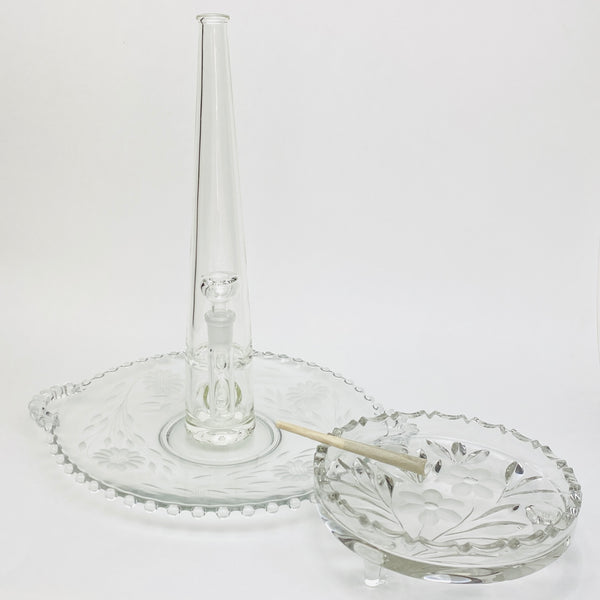 3pc Set: Footed Floral Ashtray, Handled Floral Rolling Tray, Mimi