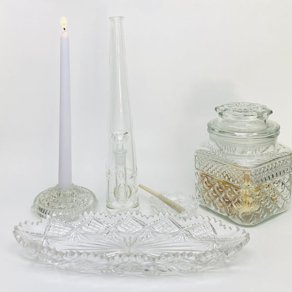6pc Set: Mini Crystal Ashtray, Crystal Cut Rolling Tray, Stash Jar, 2 Candleholders, Mimi