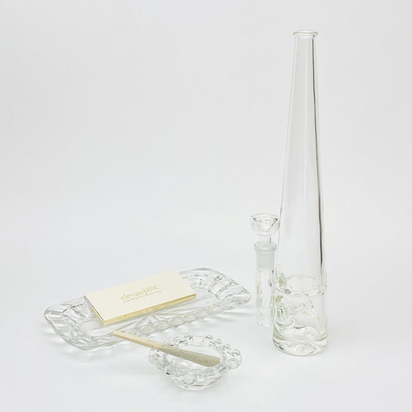 3pc Set: Clear Mini Square Ashtray, Starburst Rolling Tray, Mimi