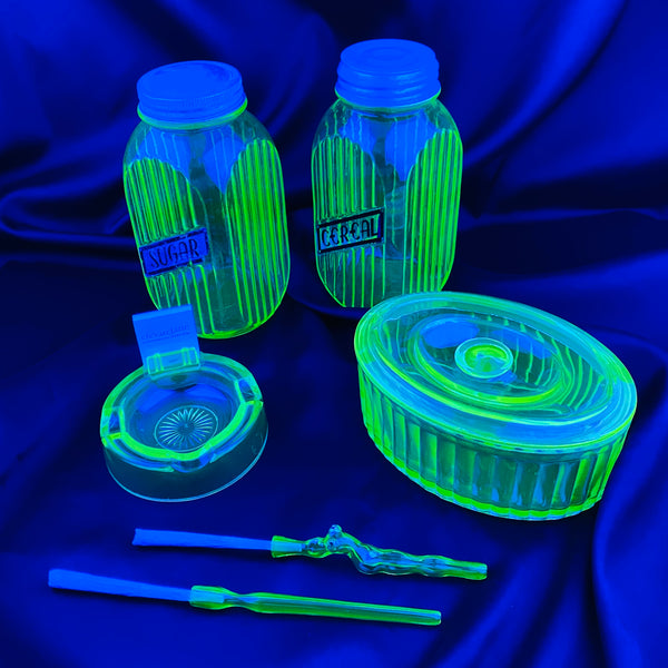 6pc Set: Ashtray w/ Matchbook Holder, Oval Stash Box w/ Lid, Pair of Jars, XL Glass Holder, Lady J Holder