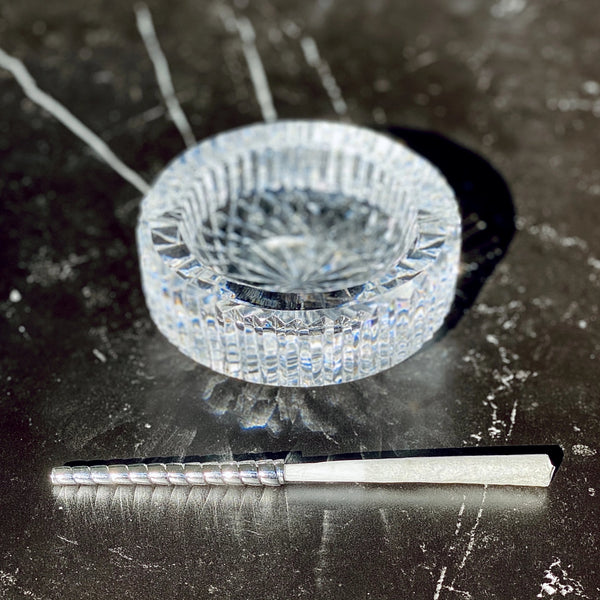 Vintage Crystal Ashtray + Silver Fumette