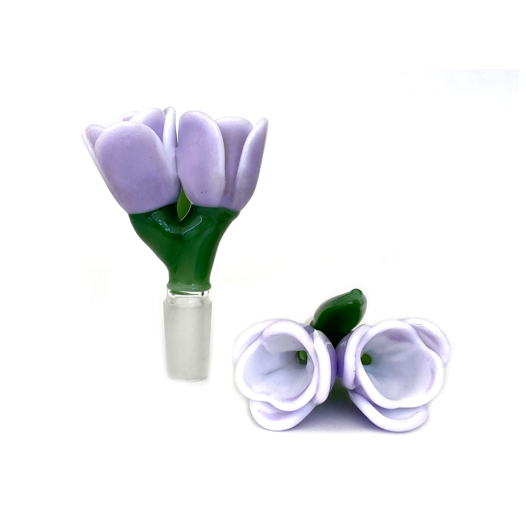 Double Bowl Piece - Lavender Tulips