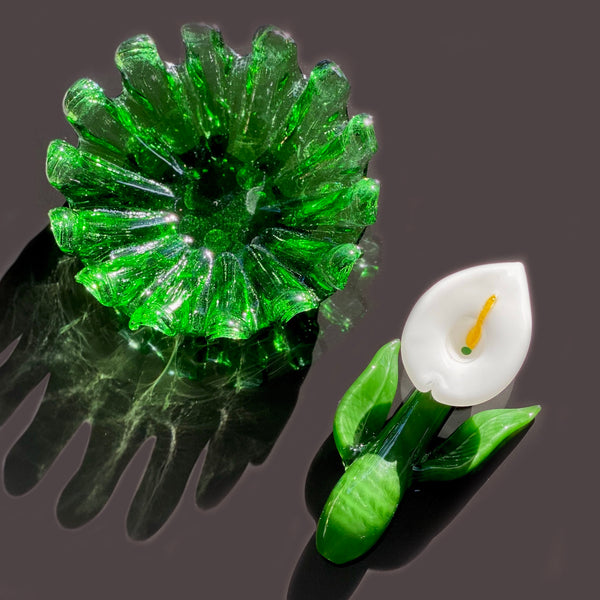 Vintage Green Ashtray + Callalily